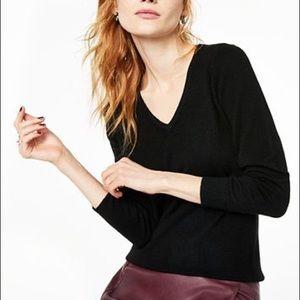 CHARTER CLUB Black Luxury Cashmere V Neck Sweater